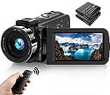 Cámara de Video videocámara FHD 1080P 30FPS 36MP IR visión Nocturna Youtube vlogging cámara grabadora 3.0 '' rotación de 270 Grados Pantalla IPS Videocámara con Control Remoto y 2 baterías