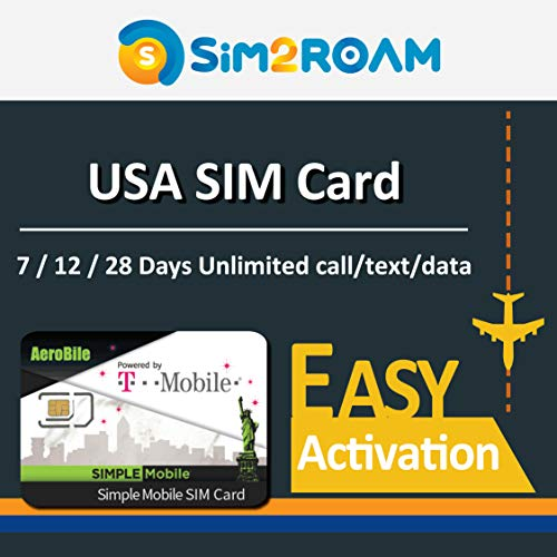 USA 12 Days Prepaid SIM Card Unlimited 4G Internet Data, Calls, Texts+ International Call, US SIMPLE Mobile T-Mobile Network Coverage in United States Nationwide,International Call to selected country