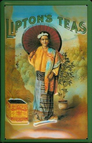Buddel-Bini Versand Blechschild Nostalgieschild Lipton's Teas Tee Sonnenschirm Schild Retro Reklame Werbeschild Sign