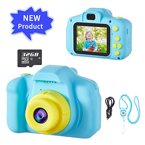 D.DA.D Kids Camera for Boys Best Birthday Gifts for 3 4 5 6 7 8 Year Old Children Toddler Toys, Portable Rechargeable Digital Video Camcorder 2.0 Inch IPS Screen with 32GB Card – Blue