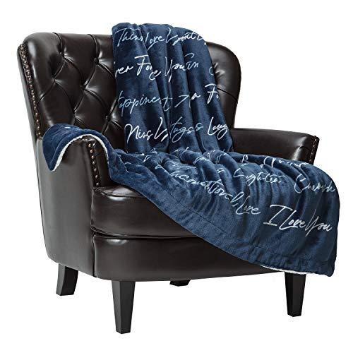 Chanasya I Love You Gift Throw Blanket- Sherpa Microfiber Unconditional Love Together Forever Throw- for Women Men Girlfriend Boyfriend Husband Wife (50x65 Inches) - Blue Blanket