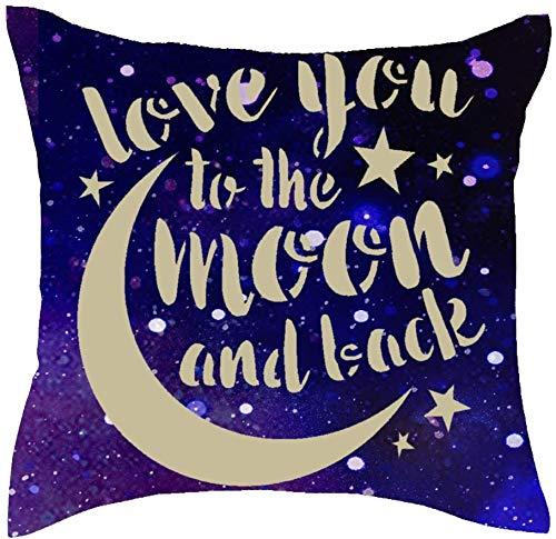 Throw Pillow Cover 18x18inches to Lover I Love You to The Moon and Back Starry Sky Algodón Lino Decorativo Hogar Sofá Silla Coche Funda de Almohada Cuadrada Funda de cojín