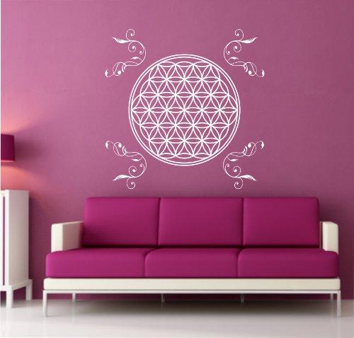 Wandtattoo Blume des Lebens Aufkleber Lebensblume Wandaufkleber 80cm inkl. Ornamente in 33 Farben matt oder glänzend