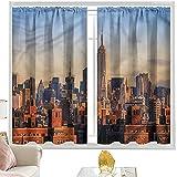 Cortinas de bloqueo de luz American, New York City Skyline USA W52 x L72 pulgadas cortinas opacas con bolsillo para barra