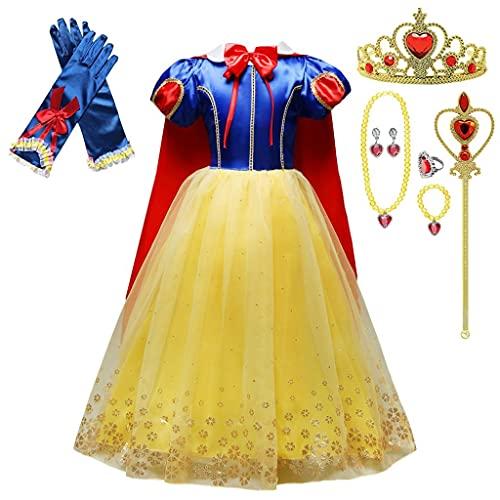 Lito Angels Disfraz Vestido de Princesa Blancanieves con Capa y Accesorios para Niñas Pequeñas Talla 4-5 años