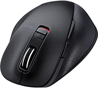 エレコム マウス Bluetooth (iOS対応) Mサイズ 5ボタン (戻る・進むボタン搭載) BlueLED 握りの極み ブラック M-XGM10BBBK