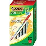 BIC Ecolutions Round Stic Ballpoint Pen, Medium Point (1.0mm), Red, 50-Count, For a Smooth Writing Experience