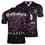 MRRTIME 17-18 Temporada New Zealand Warriors Hogar y alejado Camisa de Manga Corta Bordado Rugby Ropa Team Jersey Fan Edition Bordado Camiseta Top Deportes home-2XL