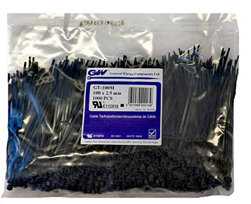 GW Kabelbinder-Technik, Kabelbinder 100 x 2,5 mm, schwarz, 1000 Stück, GT-100MB