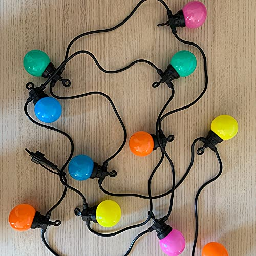 Ghirlanda Guinguette per esterni, 12 m, collegabile a 40 luci multicolore, LED bianco caldo