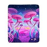 YYYJIA Manta de franela de sherpa con diseño de plantas mágicas – setas espaciales moradas 100 x 150 cm – Manta de franela suave de felpa bohemia manta de microfibra para cama/sofá/oficina/camping