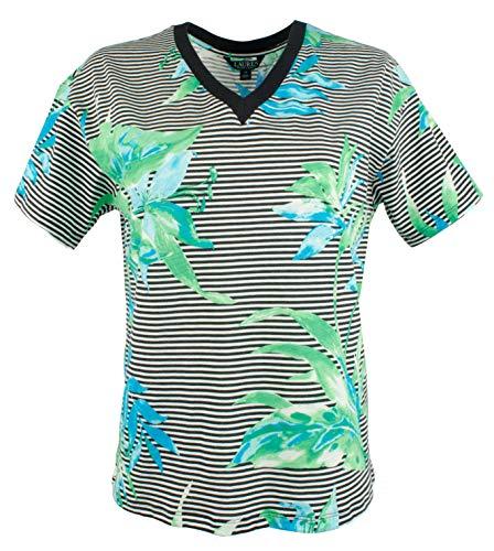 LAUREN RALPH LAUREN Womens Plus Floral Print Striped T-Shirt Green 3X