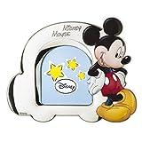 'Bilderrahmen 'Mickey Mouse in Silber und technische Details Gemälde mit 3d. Rückseite aus Holz weiß.