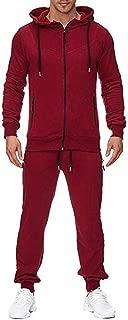 Autumn Winter Outdoor Comfy Sports Suit Men's Solid Zipper Hoodie Sweatshirt Pants Sets Tracksuit