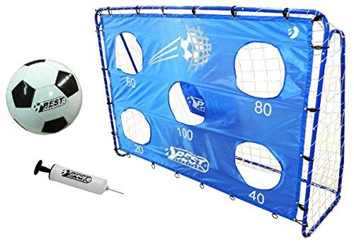 Best Sporting Fußballtor Set mit Tor, Torwand mit 5 Schusslöchern, Ball, Pumpe, Design Blau