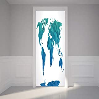 #01964 Door Sticker Wall Murals Decals,World, Geometrical Blue and Green Tones Creative Polygonal Art Style Geographic Map, Multicolor, for Home Bedroom Decor