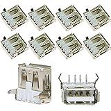 ToToT 10pcs 90 Degree 4-Pin USB Type A Standard Port Female Solder Jacks Connector PCB Socket USB-A Type SMT