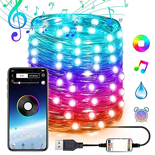 32.8FT Waterproof LED String Lights, Wifi and Bluetooth App Control, 16 Millions Colors Changing, Music Sync, Timer Function, 29 Dynamic Modes. Perfect Christmas Indoor and Outdoor Lights Decoration.