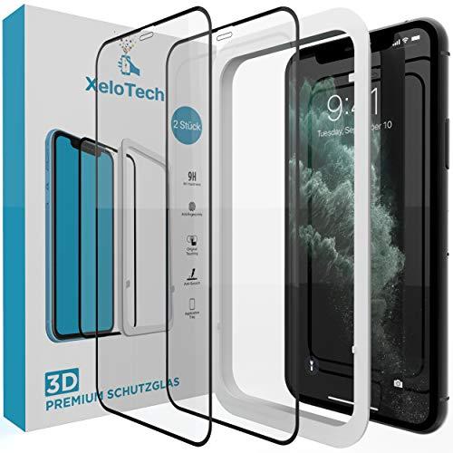 XeloTech 2X 3D Full Screen Schutzglas für iPhone 11 PRO & iPhone XS/X (5.8 Zoll) - Ultra genaue Installation mit Rahmen - Kompatibel mit Hülle & Case - Panzerfolie Mit Randschutz