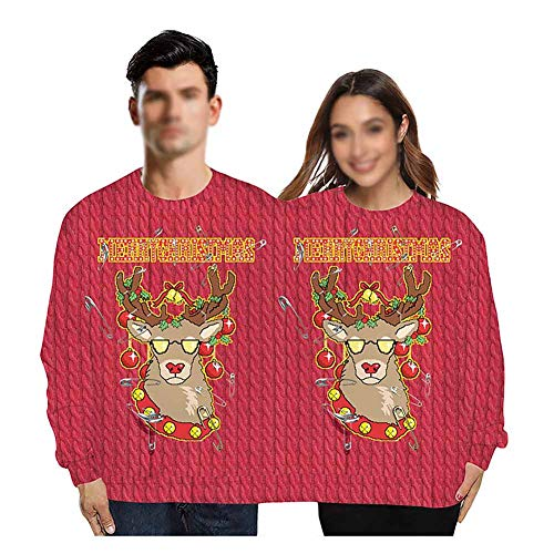 Twee Persoon Lelijke Kerst Sweater Xmas Couples Pullover 2 persoon Sweatshirts Novelty Conjoined Twin Sweaters Lange Mouw Grappige Graphic Jumper Tops Shirt Blouses, onesize
