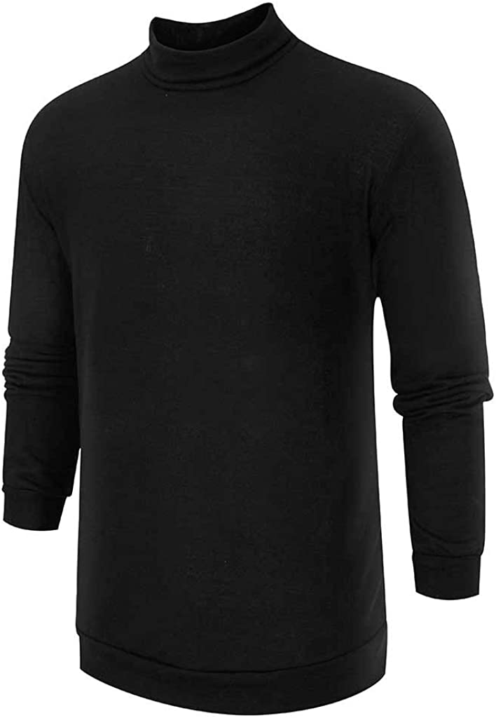 YOCheerful High Neck Sweater Men's Pure Color Warm Sweater Fashionable Comfortable Large Long Sleeve Solid Tops Pullover