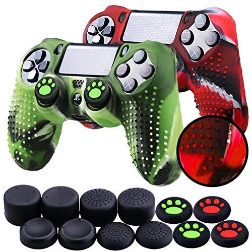 Th-some Custodie per Controller Sony PS4/PS4 Pro/PS4 Slim Dualshock 4, Custodia Protettiva in silicone Mimetico Antiscivolo per Play 4/Playstation 4 (2 pezzi mimetico rosso e verde)