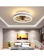 Plafondventilator Met Verlichting Afstandsbediening Rustige Moderne LED Met Lichte Woonkamer Ventilator Plafondlamp Ventilator Licht Voor Woonkamer Slaapkamer Kinderkamer Eetkamer,Black,40cm