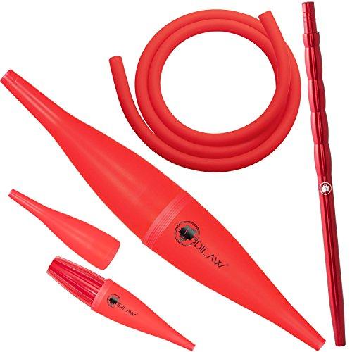 DILAW Shisha Ice Bazooka + Alu Mundstück + Silikonschlauch Set Kombinierbar mit Allen Handelsüblichen Schläuchen Rot