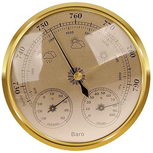 Wetterstation Analog, Wetterstation Analog für Innen und Außen Besteht aus Barometer, Thermometer und Hygrometer, Geeignet für Garten, Schlafzimmer, Outdoor, Gut Ablesbar(Gold)