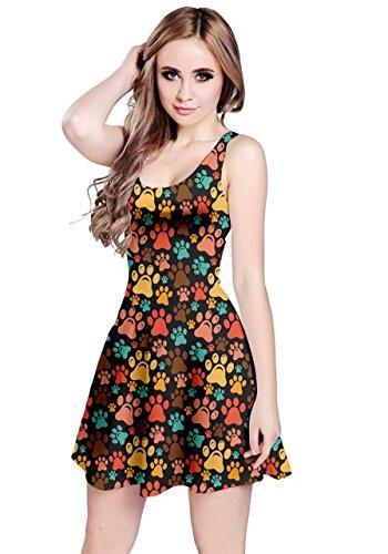 CowCow ärmelloses Kleid für Damen, Katzen, Hunde, Tiere, Mops, Pulldogge, Schwan, Vogel, Tiger, Größe XS-5XL - Mehrfarbig - 5X-Groß
