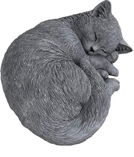 Steinfigur Katze Karthäuser russisch blau schlafend, frostfest und wetterfest, massiver Steinguss