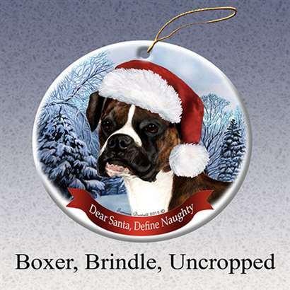 Holiday Pet Gifts Boxer, Brindle Uncropped Santa Hat Dog Porcelain Ornament
