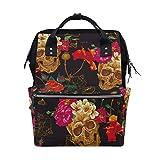 Casual Travel Daypack Schädel mit Blume Vintage Travel Rucksack für Mütter Väter Baby Windel Wickeltaschen Wandern Reiserucksack Daypack, große Kapazität, Mehrzweck, stilvoll und langlebig