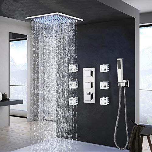 NUGKPRT Ducha,Grifo termostático de baño, Cromo LED, Ducha de Lluvia, Grifo de baño, bañera, Ducha, Grifo Mezclador, grifos de Ducha de baño, 8 Pulgadas