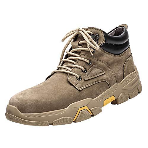 GBZLFH Botines de hombre, botas de trekking para senderismo al aire libre, zapatos casuales con cordones de moda, forro de terciopelo fino resistente al desgaste, para escalar y caminar,Sand,40