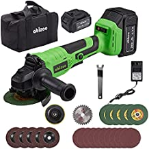 Abizoe Angle Grinder Tool,4-1/2 Inch,5.0Ah Lithium-Ion Battery,8000 RPM Max Speed,13pc Cutting & Grinding Wheels Power Tools