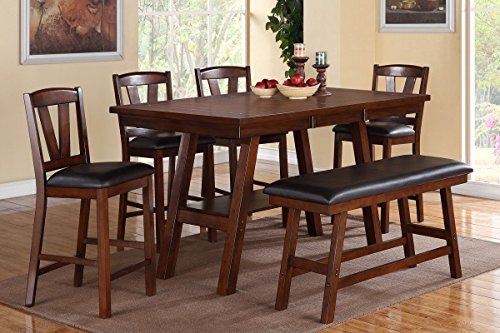 Poundex Walnut Table & Chairs/Bench Counter Dining Set, Brown