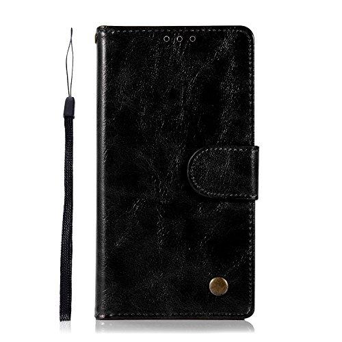 Sunrive Hülle Für BlackBerry DTEK50 / Alcatel Idol 4, Magnetisch Schaltfläche Ledertasche Schutzhülle Etui Leder Hülle Cover Handyhülle Schalen Handy Tasche Lederhülle(J Schwarz 1)+Gratis Eingabestift