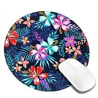 団子dadabuliu マウスパッド 円柄 花 熱帯 カラフル 背景 植物 ゲーミング ゴム底 光学マウス対応 滑り止め エレコム 耐久性が良い おしゃれ かわいい 防水 サイバーカフェ オフィス最適 適度な表面摩擦 直径:20cm