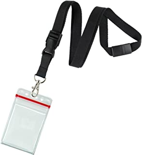 5 Pack - Premium Quick Release Lanyards with Detachable Buckle & Heavy Duty Waterproof Badge Holders by Specialist ID (Black)