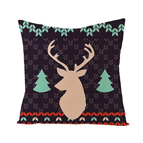 Muium(TM) Funda de cojín para Navidad, invierno, cálida y acogedora, de lino y algodón, decorativa, para sofá, dormitorio, salón (C)