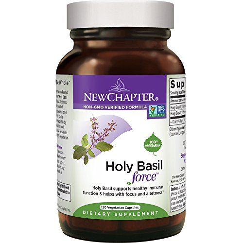 New Chapter Stress Relief Supplement - Holy Basil Force with Supercritical Holy Basil for Stress Support + Immune Support + Non-GMO Ingredients - 120 ct Vegetarian Capsules