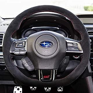 Loncky Auto Custom Fit OEM Black Suede Steering Wheel Cover for Subaru WRX STI 2015 2016 2017 2018 2019 / Subaru Levorg 2015-2019 Interior Accessories