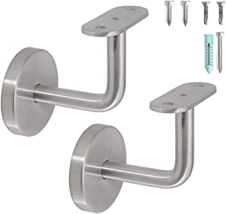 Stainless Steel Wall Mount Staircase Handrail Brackets w/Base Flange Cover for Flat Surface Square Rectangle Top Rail Tube, Satin Finish, 2-Pack