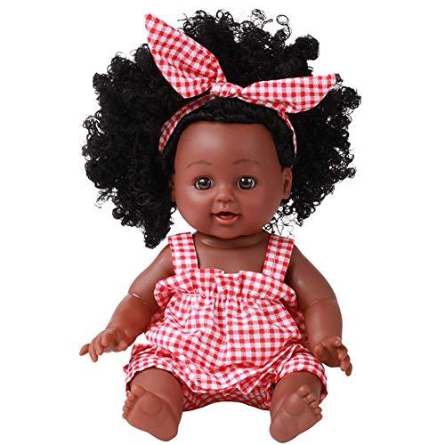 QqHAO Rebirth Puppe Simulation Baby African Black Doll, Modell Vinyl Plastikpuppe, Explosion Stirnband Kleine Rock-Klage 35Cm,1