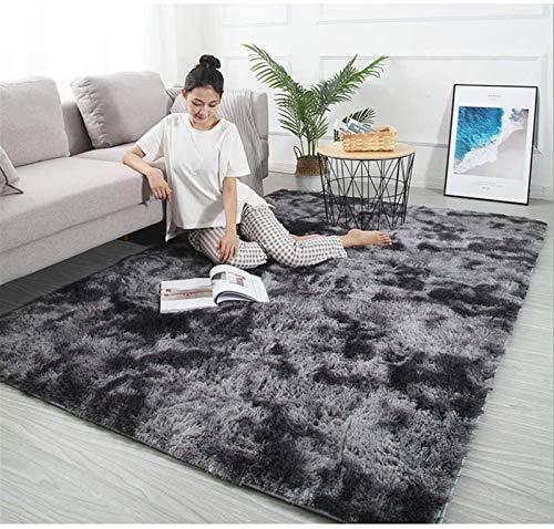 Auoeer Moderna lanudo mullidas alfombras Soft Touch Dazzle Área de la Chispa Alfombra de la Manta Grande for Sala de Estar Dormitorio Estera del Piso (Color : Dark Gray, Talla : 120x 160cm)