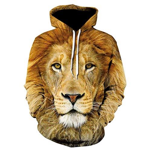 Unisexo Sudaderas con Capucha Impresa Sudadera con Capucha Animal Print 3D Lion Head para Hombre para chándal...