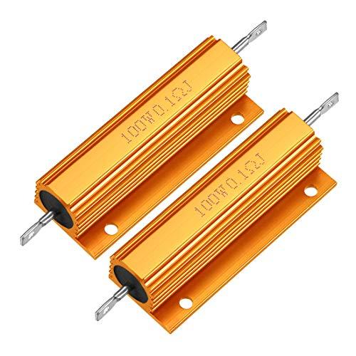 Sourcingmap Hochlast-Widerstand mit Aluminiumgehäuse, 100 W, 0,1 Ohm, Drahtgewickelt, Gelb, für LED-Ersatz-Konverter, 100 W, 0,1 RJ - 2 Stück