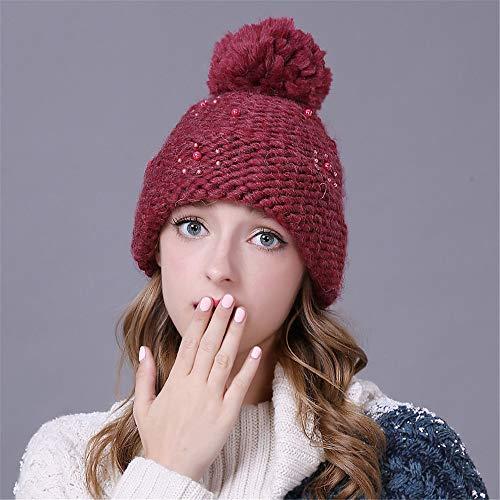 GJZSFS Sombrero de Las señoras,Sombrero de Punto Sombrero de Lana Lindo Coreano Damas Gorras de Invierno otoño otoño e Invierno cálido M (56-58cm) Rojo