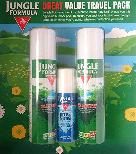 Jungle Formula Espray antimosquitos (Maximum) y espray para el alivio de picaduras de insectos (Bite & Sting), ofrecen hasta 10h de protección contra mosquitos, e insectos